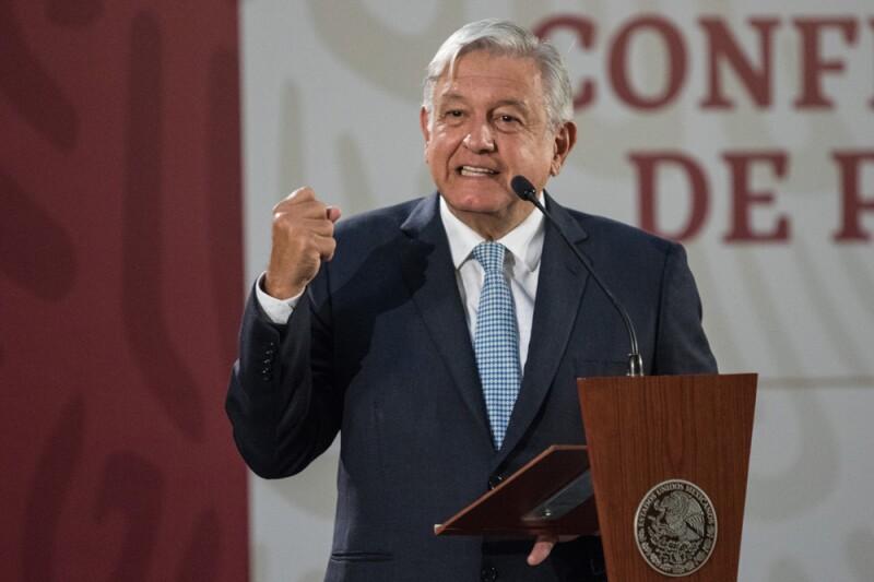 El presidente López Obrador durante su conferencia matutina.