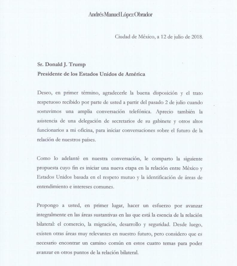 La carta que le envió Andrés Manuel López Obrador al presidente Donald Trump.