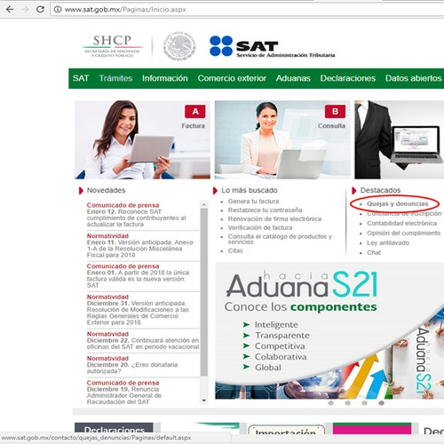 En el portal del SAT, entrar a la sección de quejas y denuncias