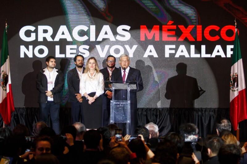 Andrés Manuel López Obrador, virtual ganador de la elección presidencial, ofreció un mensaje a medios de comunicación
