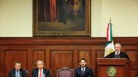 El ministro, Luis Maria Aguilar Morales durante el Cuarto Informe Anual de Labores de la SCJN