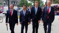 Los secretarios de Relaciones Exteriores, Luis Videgaray y el Secretario de Economía, Ildefonso Guajardo, acompañados por Jesús Seade, designado como Jefe Negociador del TLCAN por parte del equipo de AMLO.