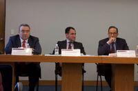 Carlos Romero, Arturo Herrera, Carlos Salasar y Luis Arturo Castañeda, durante la conferencia de prensa En donde se abordaron temas como las modificaciones para castigar las evasiones fiscales y los sellos digitales.