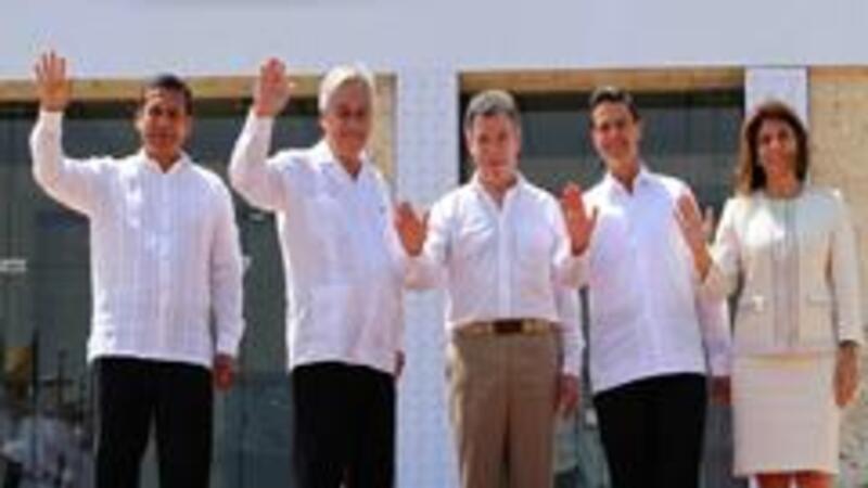 Los presidentes Humala (Perú), Piñera (Chile), Santos (Colombia), Peña (México) y Chinchilla (Costa Rica) (Foto: Notimex)