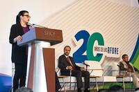 La subsecretaria de Hacienda y Crédito Público, Vanessa Rubio Márquez, durante la ceremonia conmemorativa del 20 Aniversario del Sistema de Pensiones