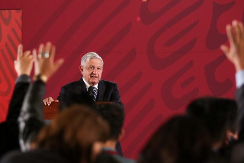 El presidente Andrés Manuel López Obrador durante su conferencia matutina en Palacio Nacional.